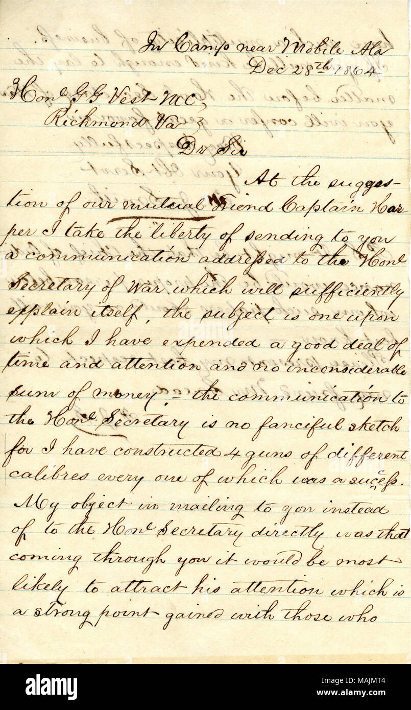 Regarding a rifled cannon and improved projectiles invented by Smith, a captain in the 2nd Missouri Cavalry (Confederate). Title: Letter signed F.J. Smith, in camp near Mobile, Ala., to Hon G.G. Vest, Richmond, Va., December 28, 1864  . 28 December 1864. Smith, F. J. - Stock Image