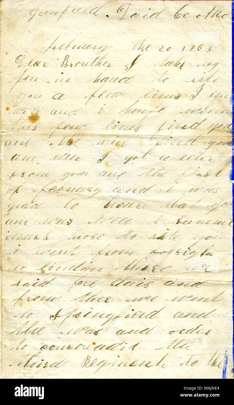 Describes the consolidation of the 3rd Missouri State Militia Cavalry into the 6th and 7th Missouri State Militia Cavalries. Illustrated stationery. Includes typed transcription. Title: Letter signed George Wolz, Greenfield, Dade Co., Mo., to his brother John Wolz, February 20, 1863  . 20 February 1863. Wolz, George, 1842-1924 - Stock Image
