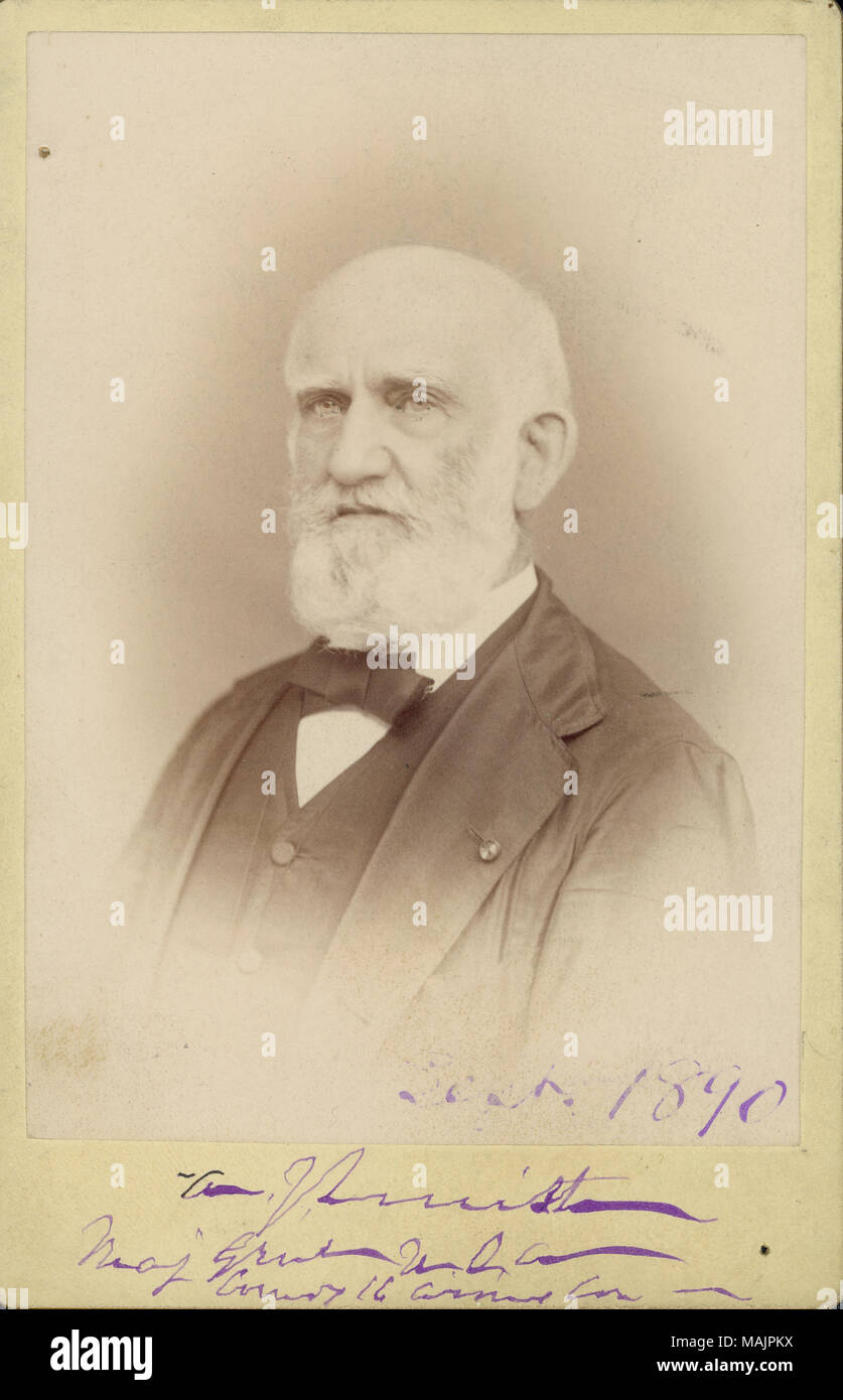 Bust portrait of Major General A. J, Smith wearing a suit, vest, and bow tie, and turned to the left. 'Best. 1890 A. P. Smith Maj Genl U.S.A. [illegible] 16 [illegible] Con [?]' (written below image). Title: A. J. Smith, Major General, U.S. Volunteer.  . 1890. - Stock Image