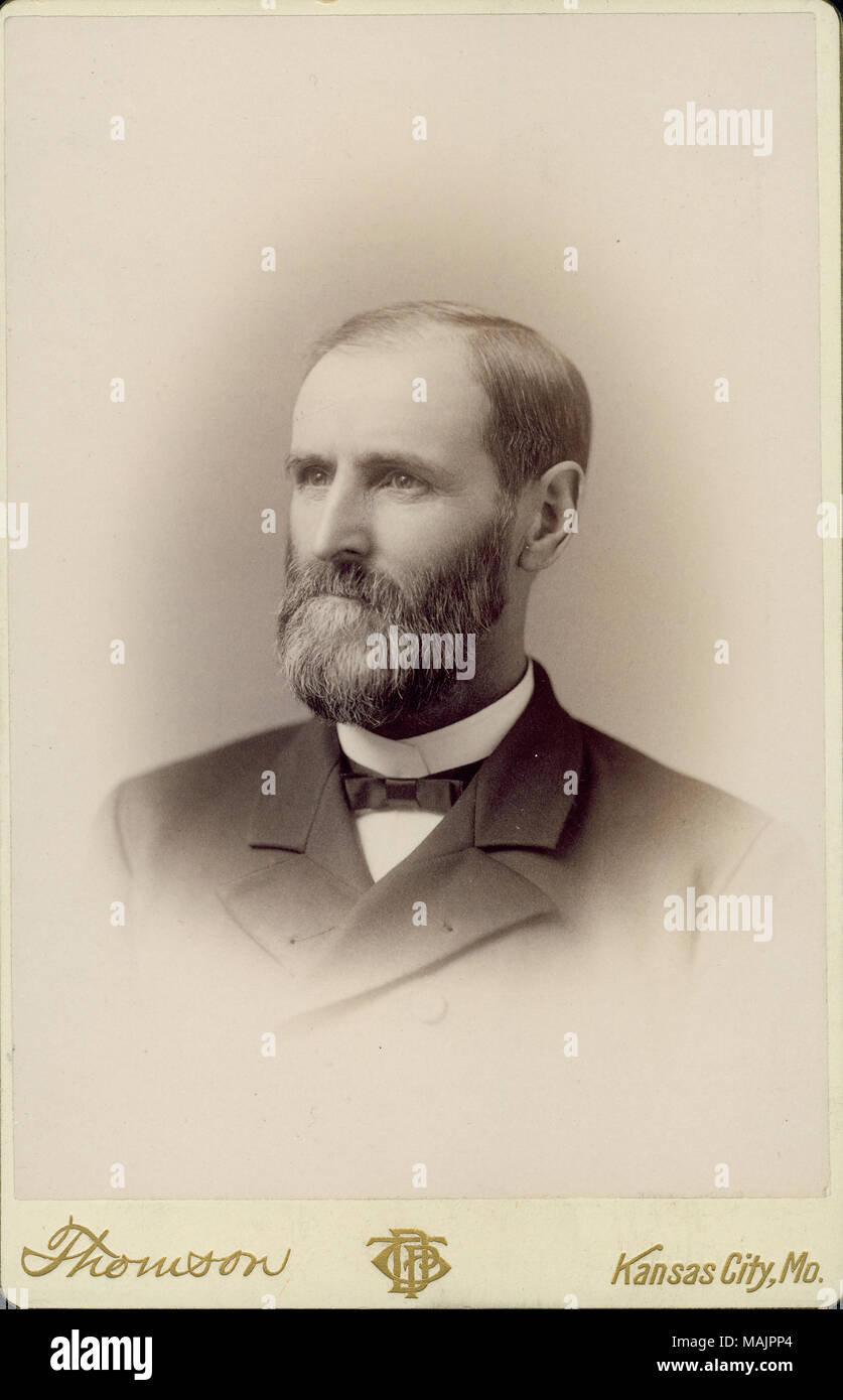 Bust portrait of Captain David Ellison wearing a suit and bow tie, with his head turned to the left. 'Thomson' and 'Kansas City, Mo.' (printed below image). Title: David Ellison, Captain, 3rd U.S. Infantry Volunteer (Union).  . 1891. D.P. Thomson, Kansas City Stock Photo