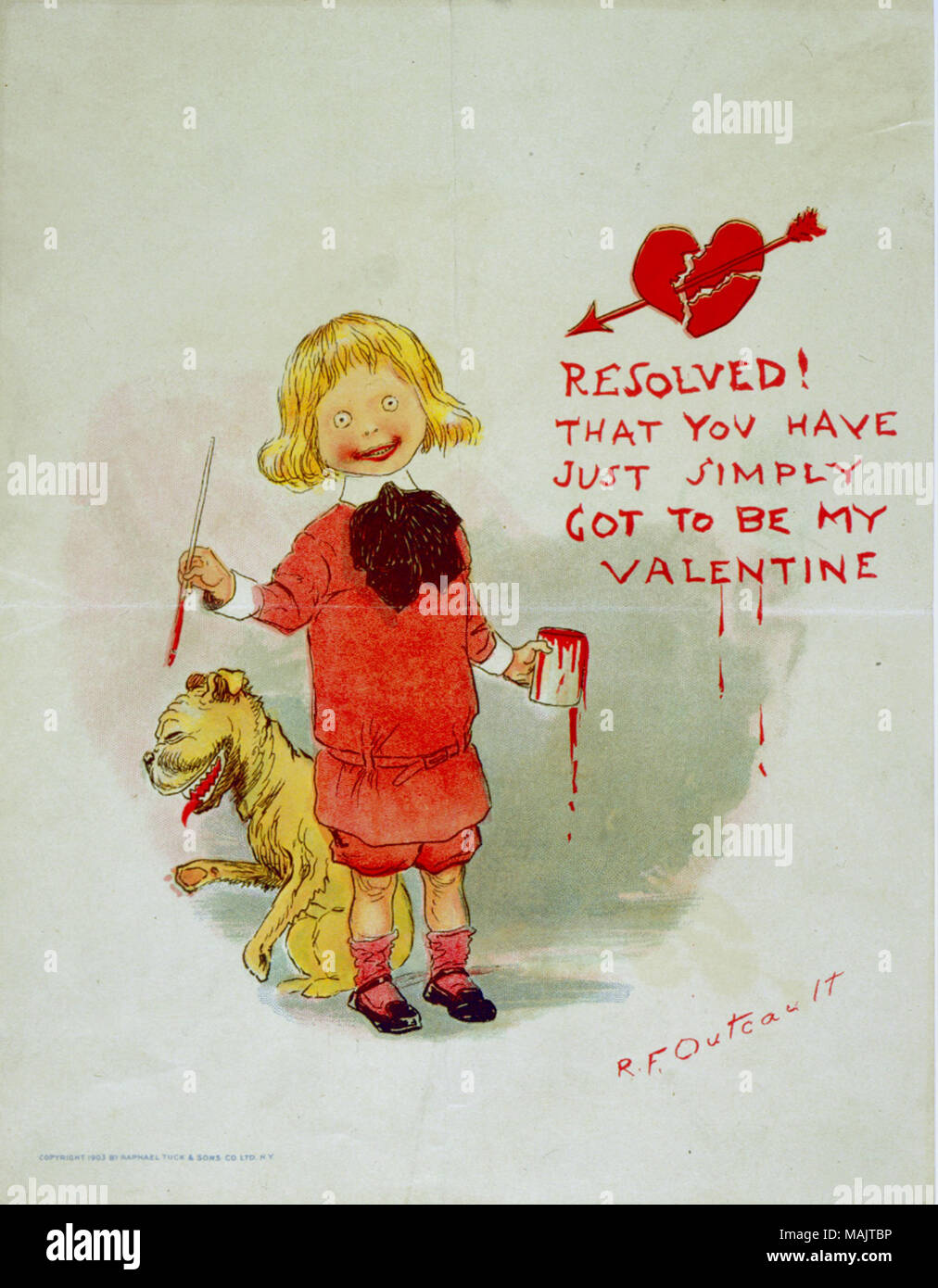 Title: 'Resolved! That You Have Just Simply Got to Be My Valentine' [Buster Brown and his bulldog, Tige].  . 1903. Richard Fenton Outcault - Stock Image
