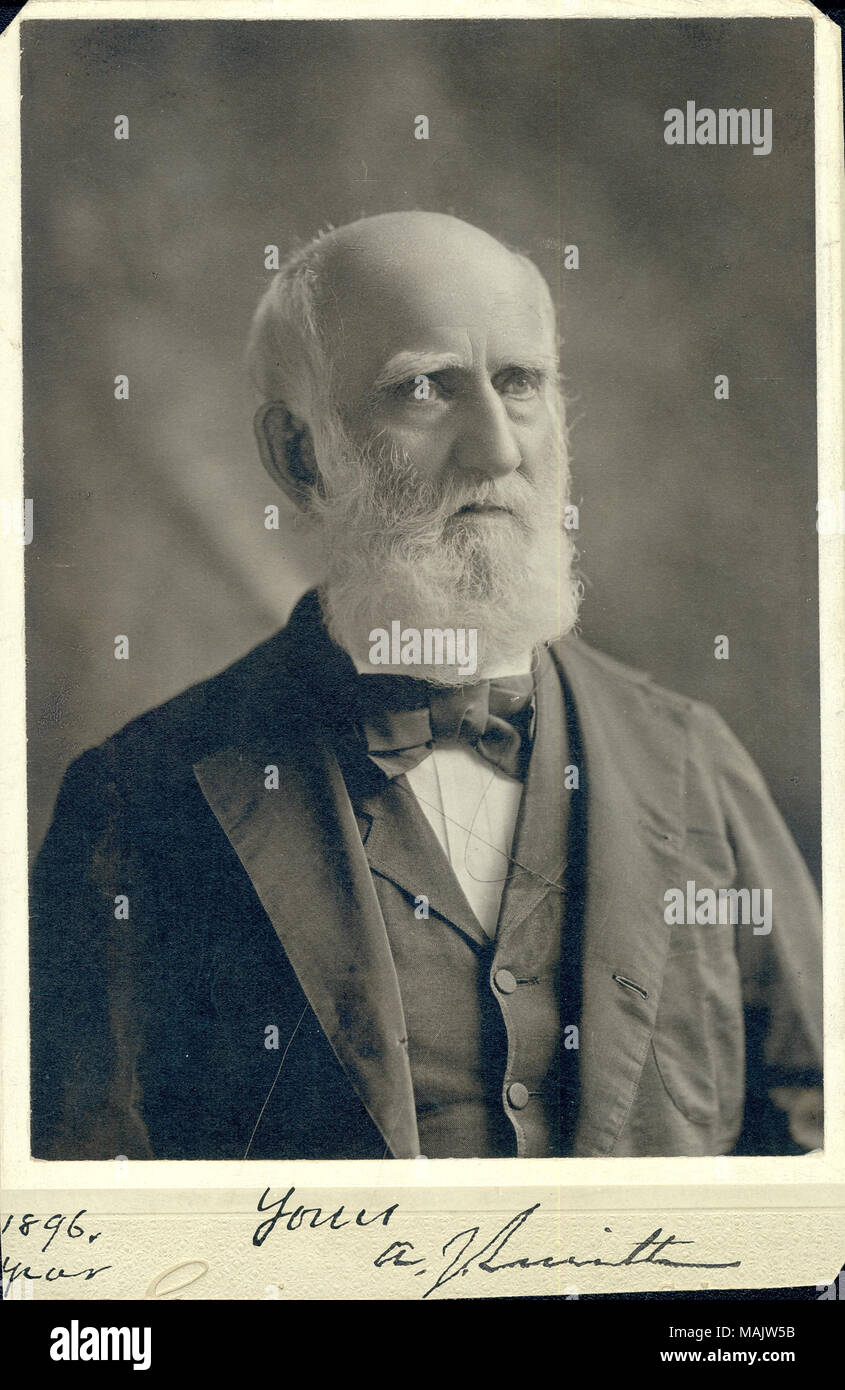 Bust portrait of A.J. Smith wearing a suit, vest, and bow tie, with his head turned slightly to the right. '1896 [illegible]' and 'Yours A.J. Smith' (written below image). Title: A.J. Smith, Colonel, U.S. Army, retired, Major General, U.S. Volunteers.  . 1896. - Stock Image