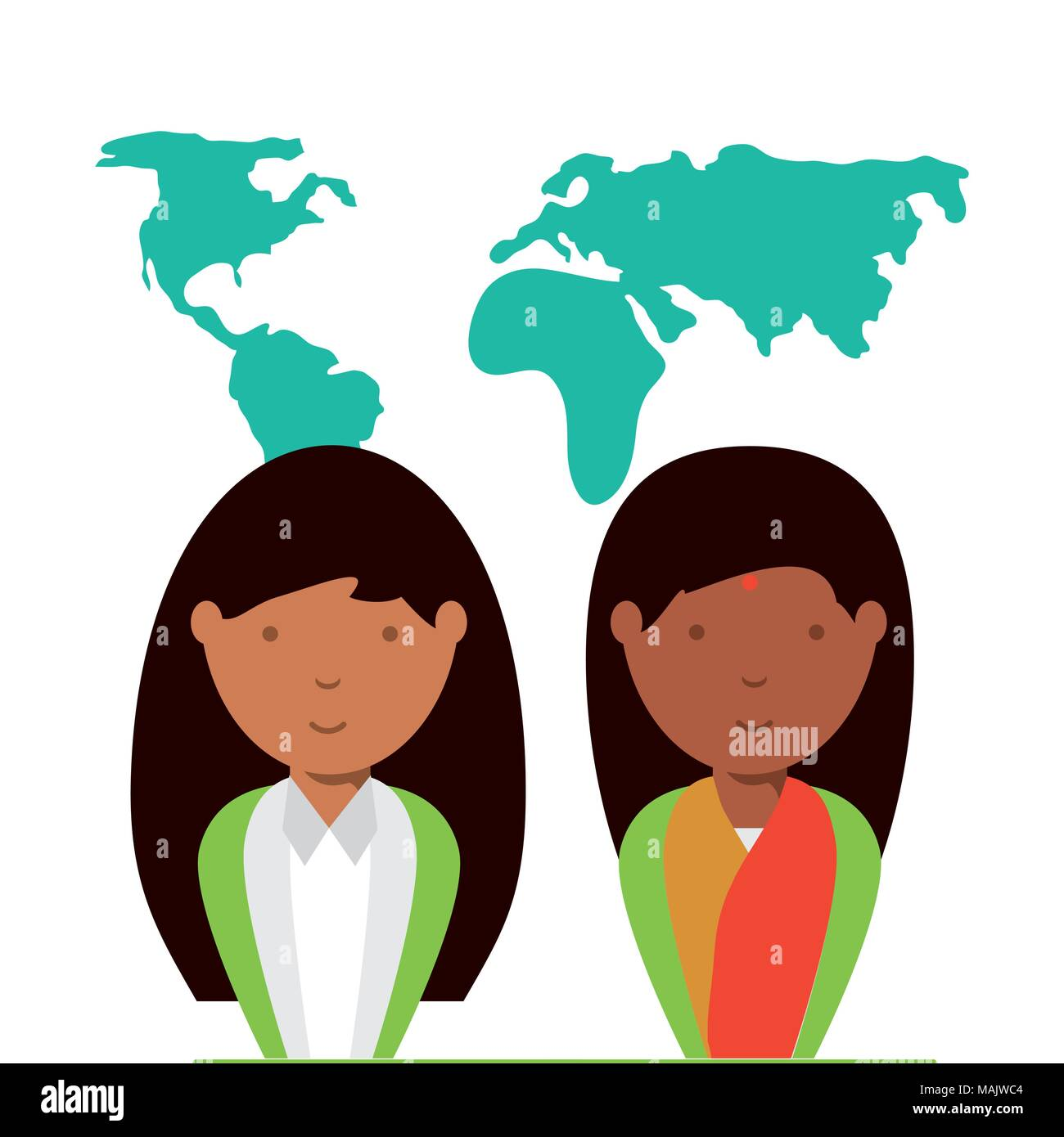 cartoon hindu women over world map and white background colorful design vector illustration