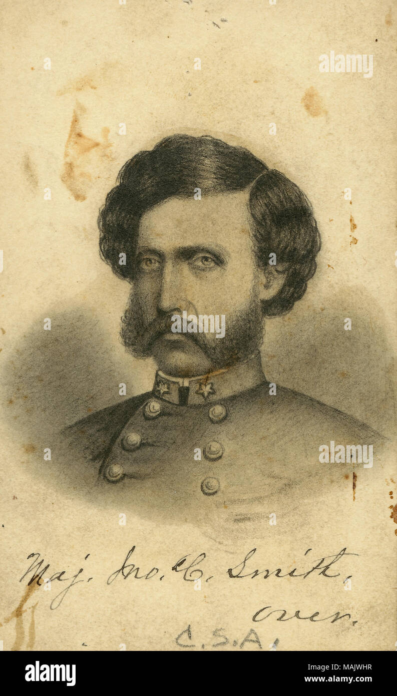 Bust portrait of a man in uniform. 'Maj. Jno. C. Smith. over. C. S. A.' (written below image). 'Maj. Smith During the years of 1858 - 1861. Commanded the Battalion of St. Louis Riflemen 4 Cos. of well drilled and disciplined of St. Louis militia. maj J Smith Maj Jno. C. Smith. St. Louis. Drill Master. C. S. A. Ala. Dept. Presented by Jos. Boyce to Mo. H. Soc. July 3/15' (written on reverse side). Maj. Smith was a member of the St. Louis militia battalion, but was held as a prisoner at Johnson's Island during the war (John Smith papers, MHM archives). Title: John C. Smith, Major, St. Louis Mili - Stock Image