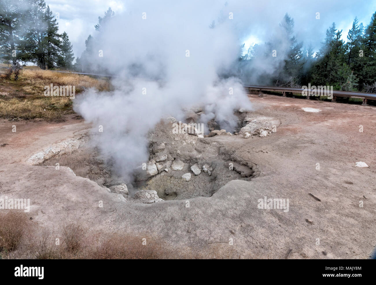 Steam vents in Yellowstone National Park with steam coming out of the ground. - Stock Image