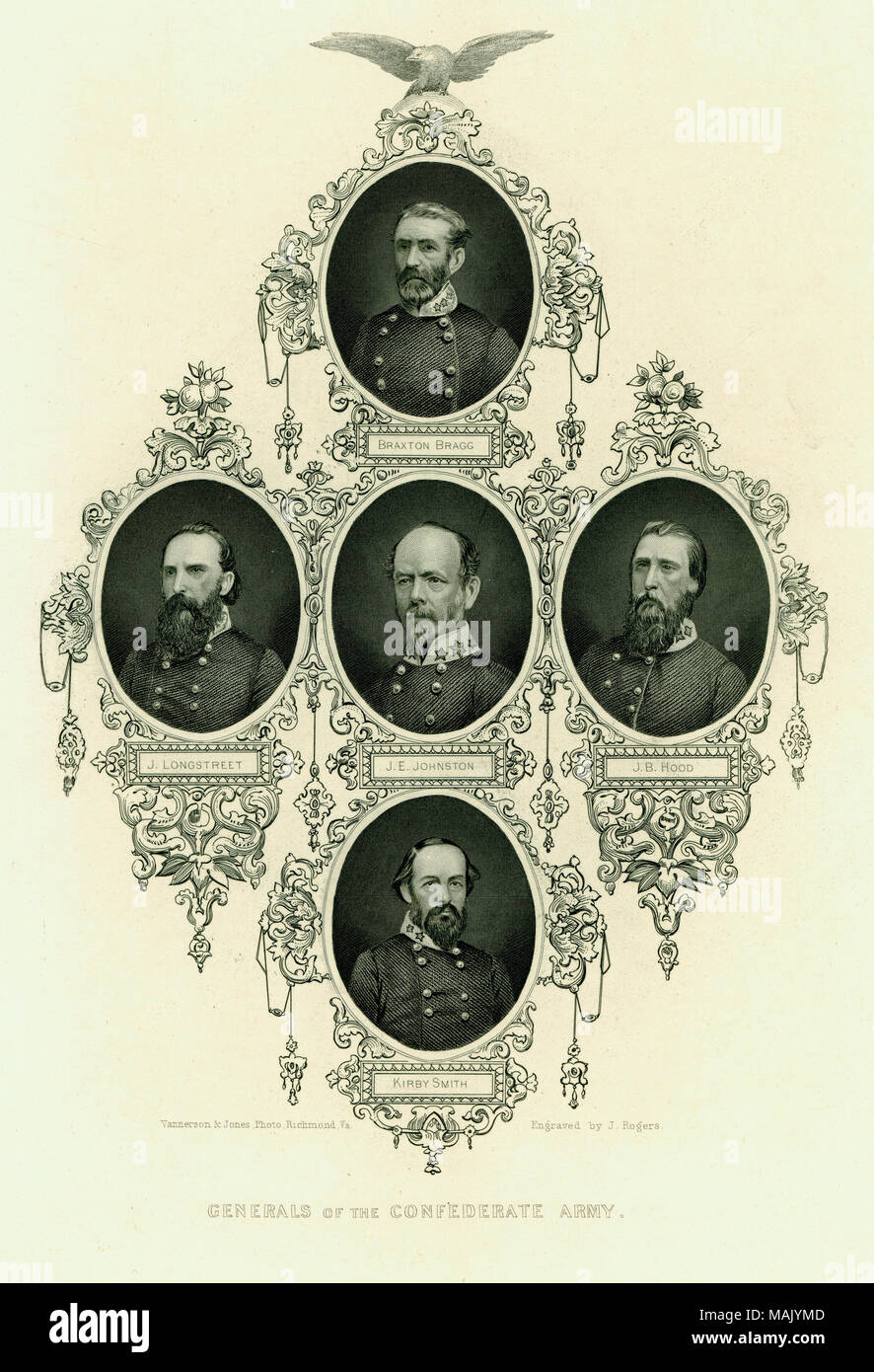 Print of bust portraits of five Confederate generals  Subjects