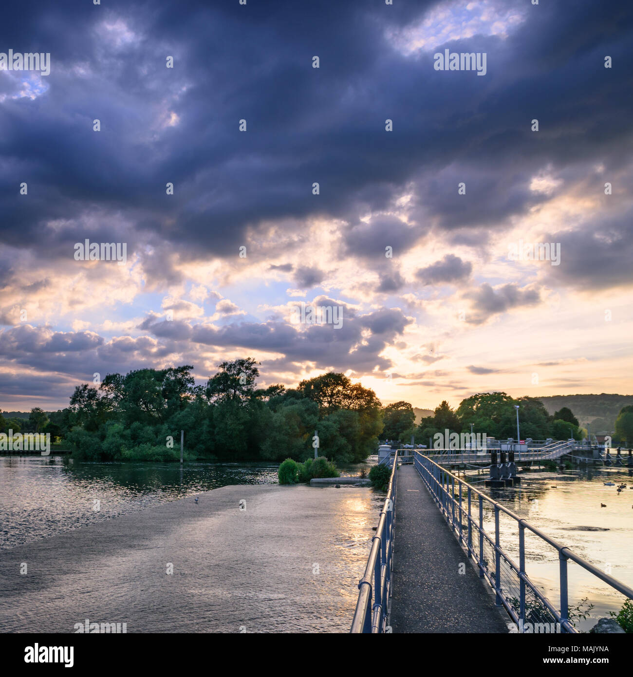 Hambleden Lock on the River Thames on a summer evening Stock Photo