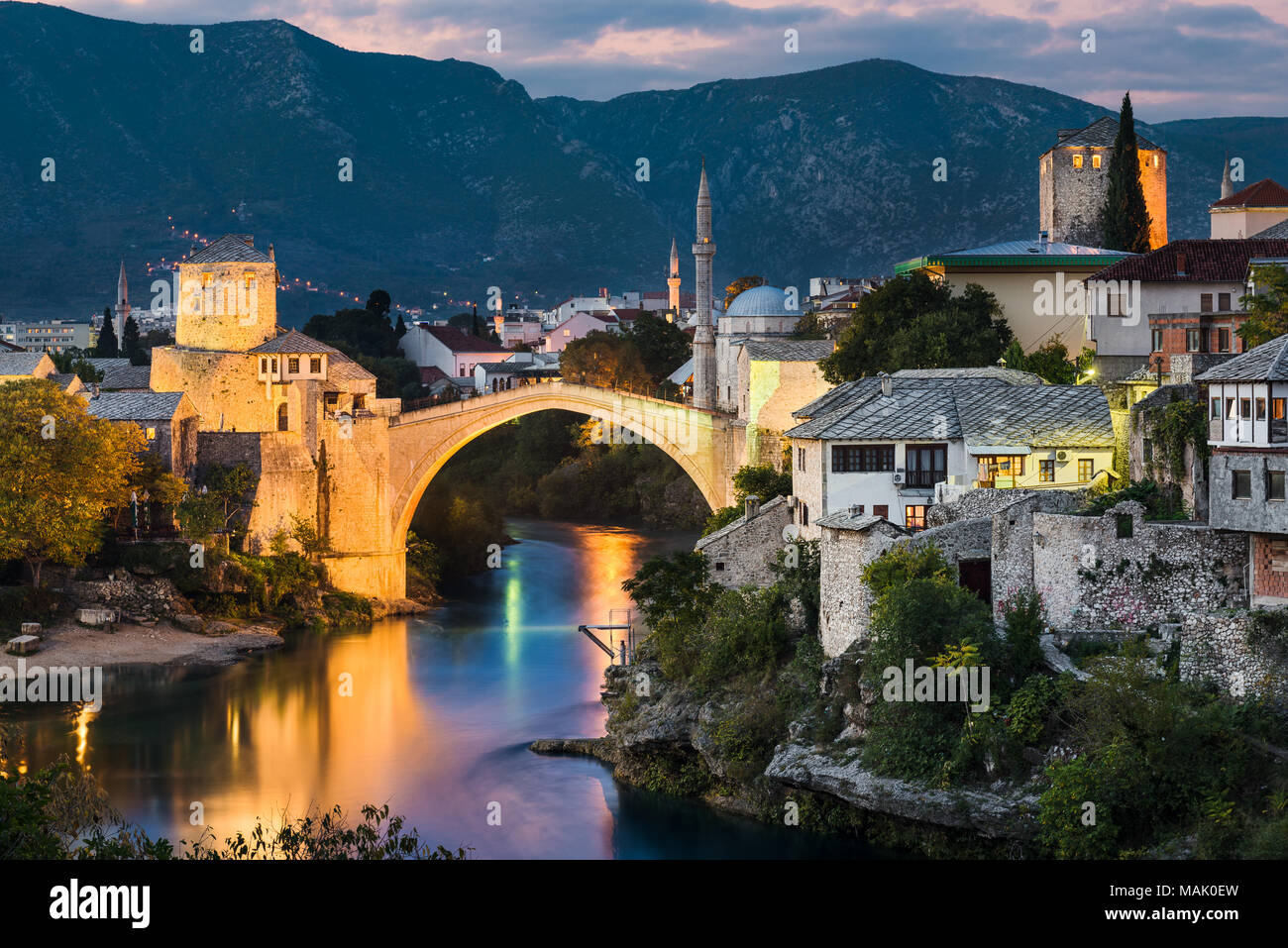 Old Bridge at night in Mostar, Bosnia and Herzegovina - Stock Image