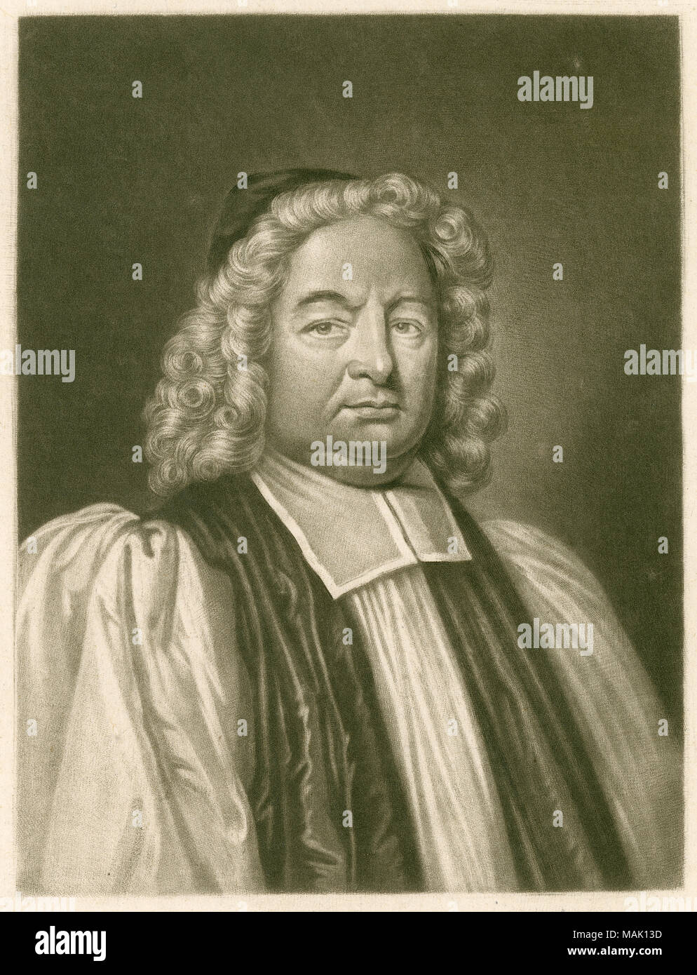 Antique 1813 copper engraving, Michael Boyle. Michael Boyle, the younger (1609-1702) was a Church of Ireland bishop who served as Archbishop of Dublin from 1663 to 1679 and Archbishop of Armagh from 1679 to his death. SOURCE: ORIGINAL ENGRAVING - Stock Image