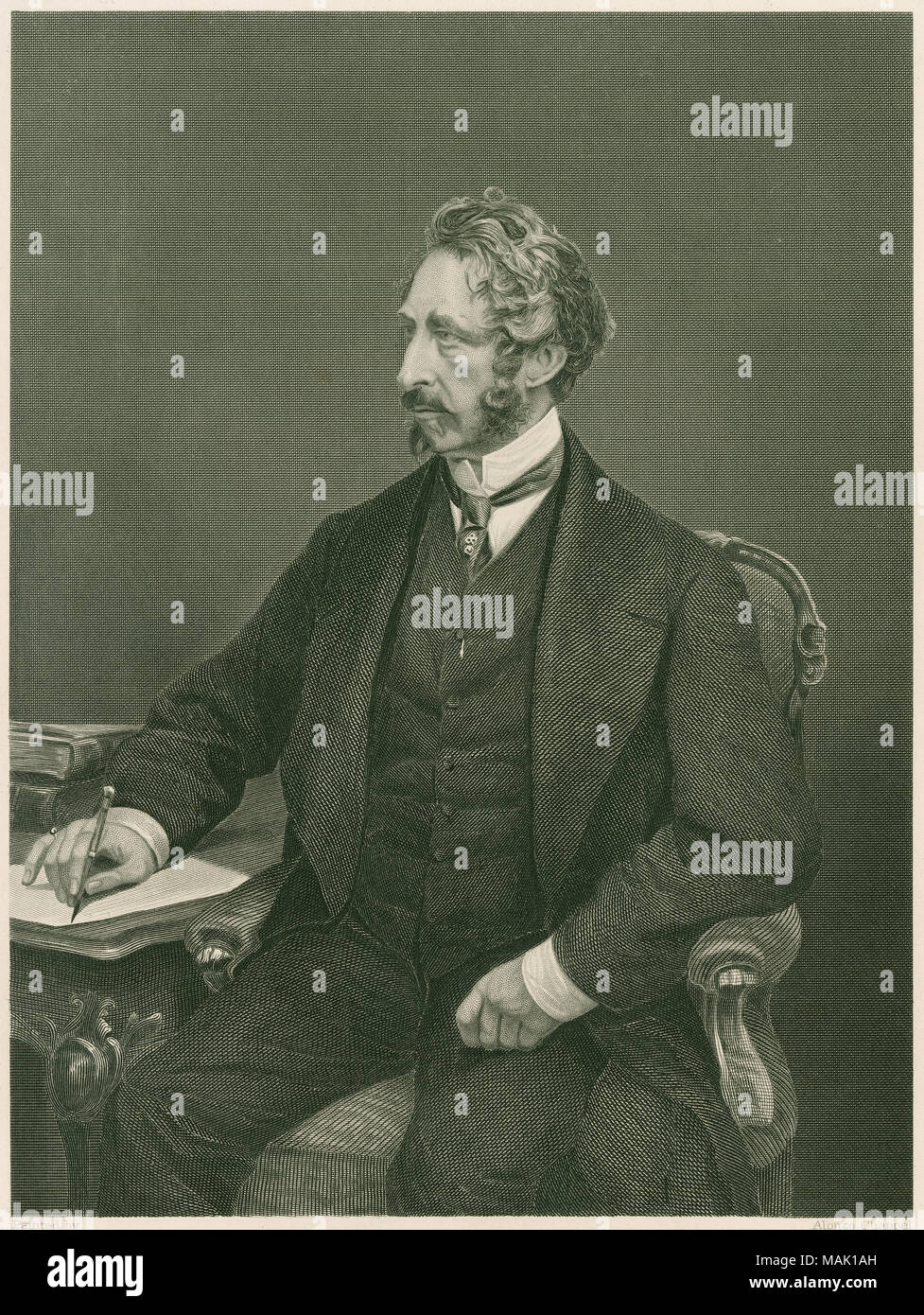 Antique c1885 steel engraving, Edward Bulwer-Lytton. Edward George Earle Lytton Bulwer-Lytton, 1st Baron Lytton (1803-1873) was an English novelist, poet, playwright, and politician. SOURCE: ORIGINAL ENGRAVING - Stock Image
