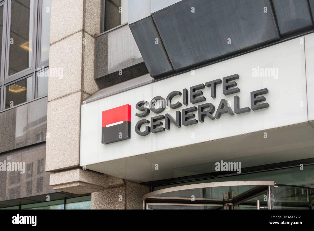 Société Générale S.A. is a French multinational banking and financial services company located in Exchange House, Primrose Street, London, EC2, UK - Stock Image