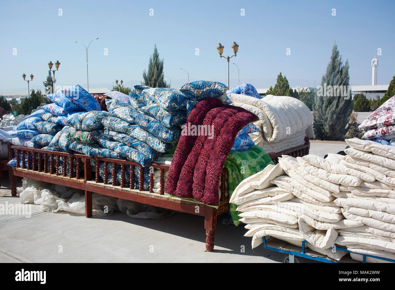Cushions and mattresses for sale in market near Ashgabat, Turkmenistan - Stock Image