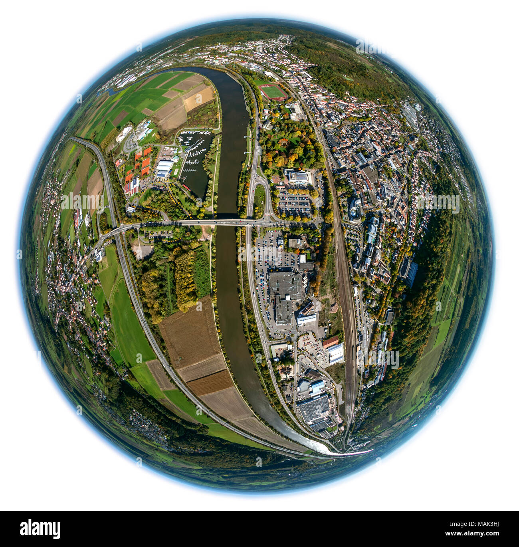 Merzig, Saar, Saarland, Germany, Europe, aerial view, birds-eyes view, aerial view, aerial photography, aerial photography, overview, overview, bird's - Stock Image