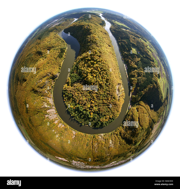 Saar loop, Saar, Burg Montclair, Taben-Rodt, Saarland, Rheinland-Pfalz, Germany, Europe, aerial view, birds-eyes view, aerial view, aerial photography - Stock Image