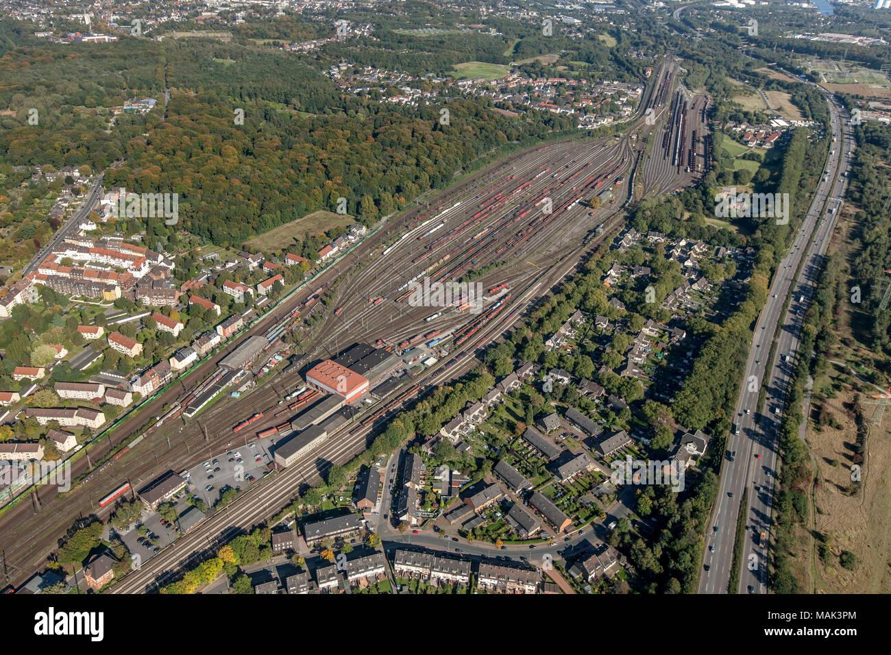 Aerial view, signal box 4 on the Ostberg in Oberhausen-Osterfeld, Oberhausen, Ruhr area, North Rhine-Westphalia, Germany, Europe, birds-eyes view, aer - Stock Image
