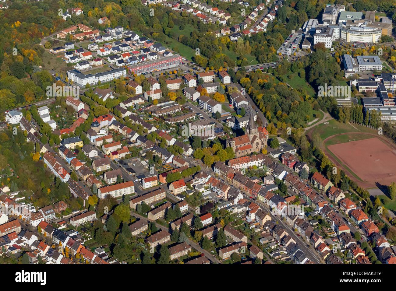 Luftbild, Kirche Burbach, Burbach, Saarbrücken, Saarland, Deutschland, Europa, birds-eyes view, Luftaufnahme, Luftbildfotografie, Luftfotografie, over - Stock Image
