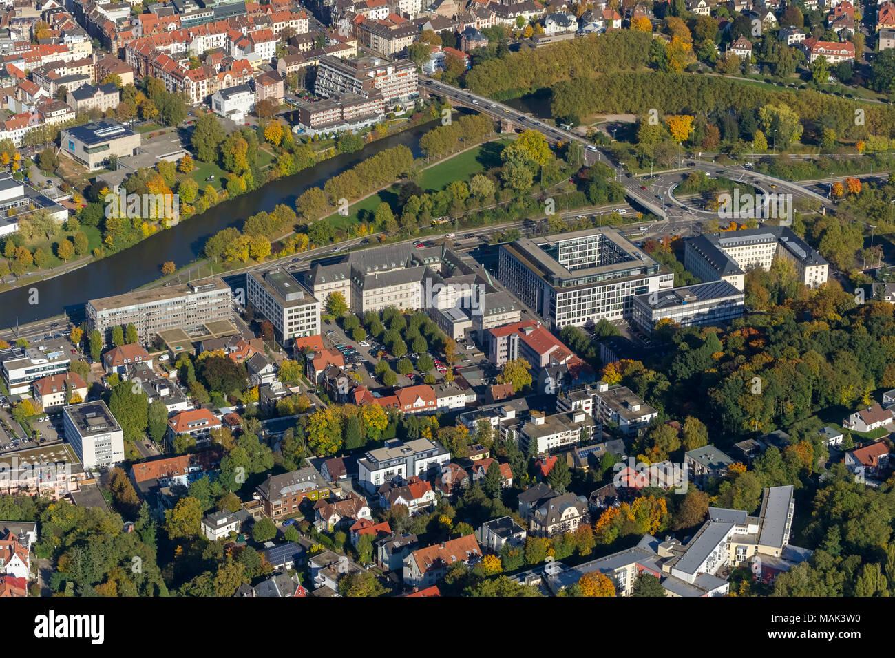Luftbild, Ministerium für Wirtschaft, Arbeit, Energie und Verkehr, Oberlandesgericht Saarbrücken, OLG Saarbrücken, Saarbrücken, Saarland, Deutschland, Stock Photo