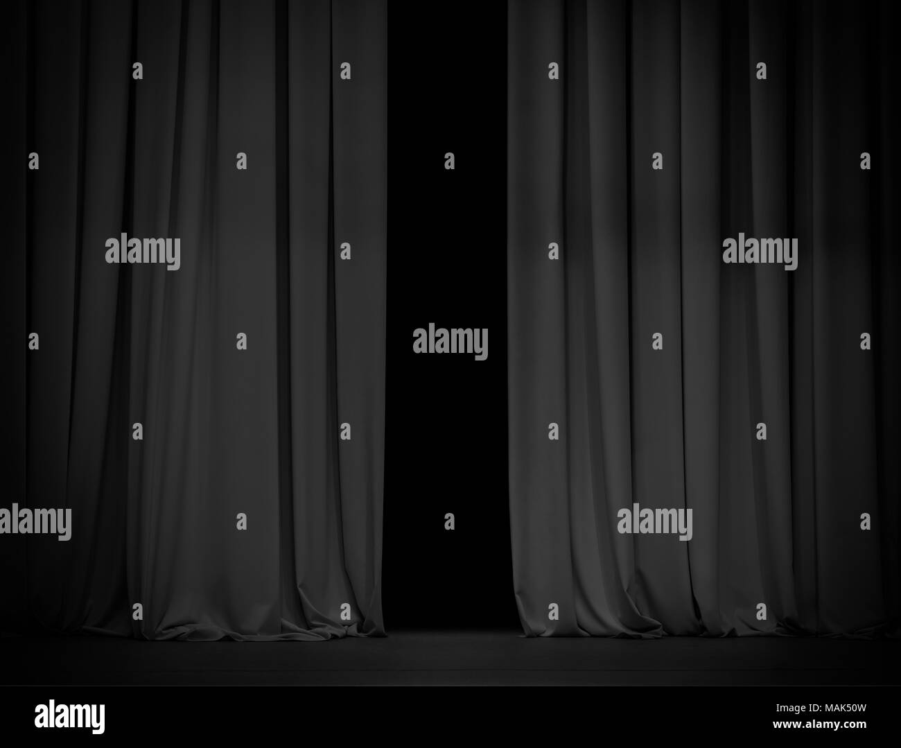 Black curtain background slightly open Stock Photo