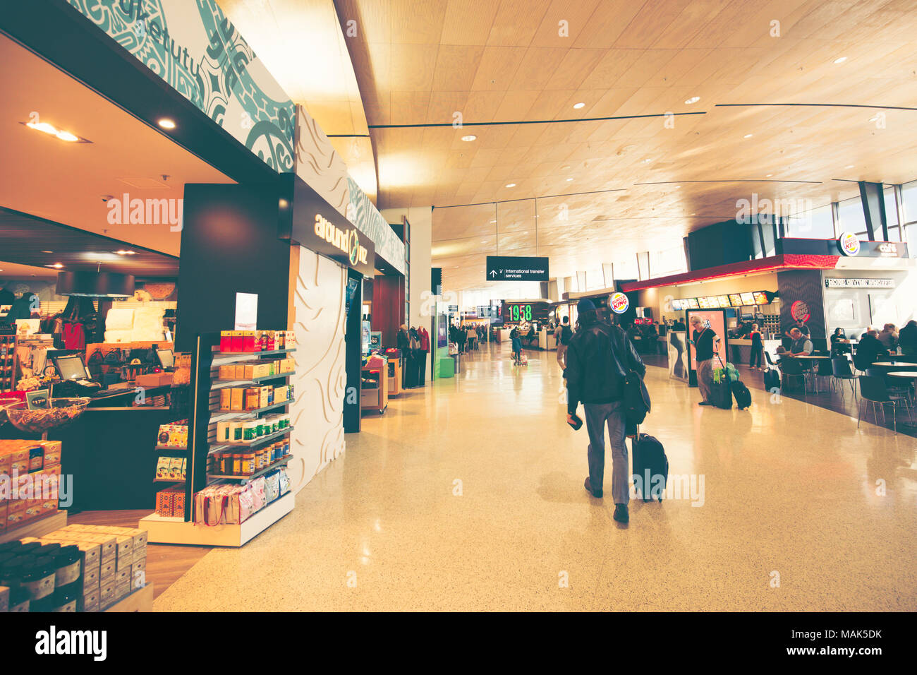WELLINGTON, NEW SEALAND – OCTOBER 16, 2016: People Walking Inside The Terminal Of WELLINGTON International Airport - Stock Image