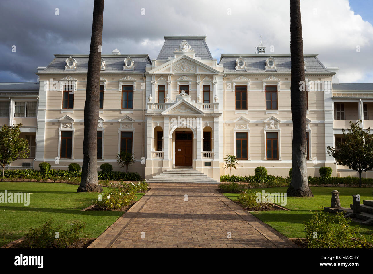 The front entrance to the Theological Seminary in Stellenbosch. - Stock Image