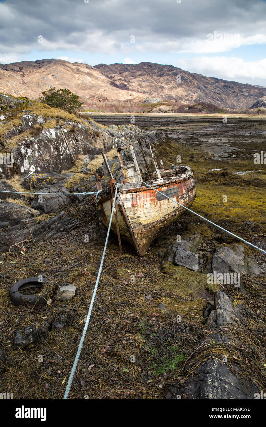 An aged and shabby looking  boat high and dry at low tide at the edge of Loch Ailort a few mile south of Arisaig on the west coast of Scotland. - Stock Image