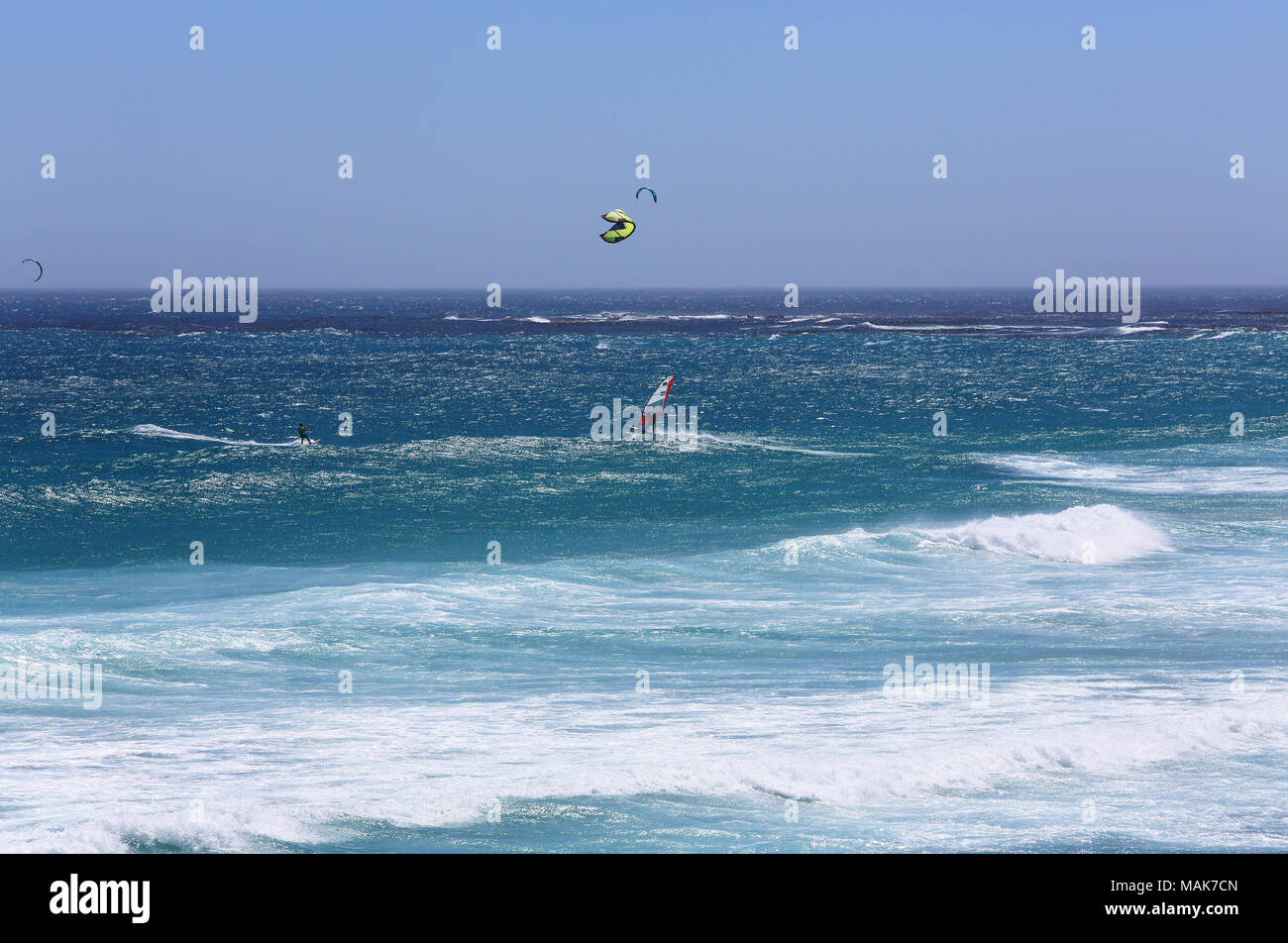 Water sports at the Cape of Good Hope, a rocky headland on the Atlantic coast of the Cape Peninsular, South Africa - Stock Image