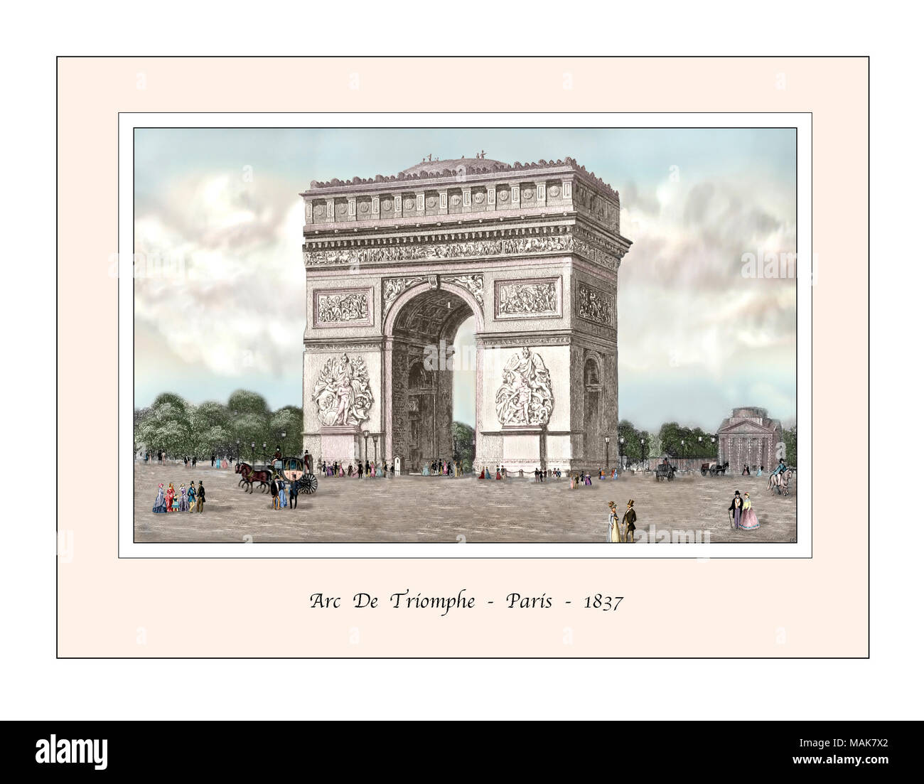 Arc de Triomphe Paris Original Design from a 19th century Engraving - Stock Image