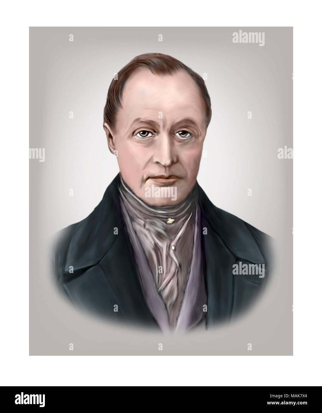Auguste Comte, 1798 - 1857, French Philosopher - Stock Image