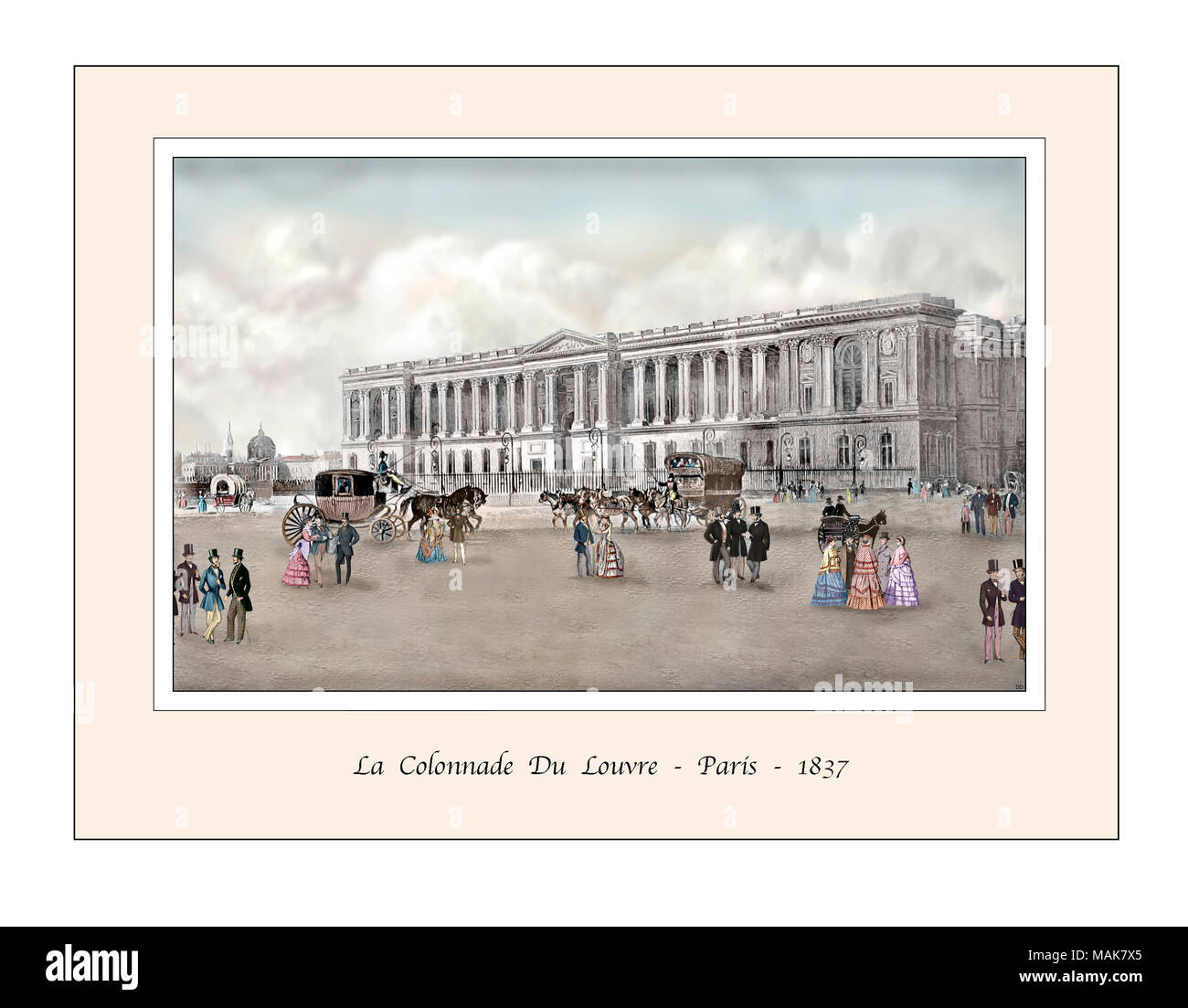 Louvre Paris Original Design from a 19th century Engraving - Stock Image