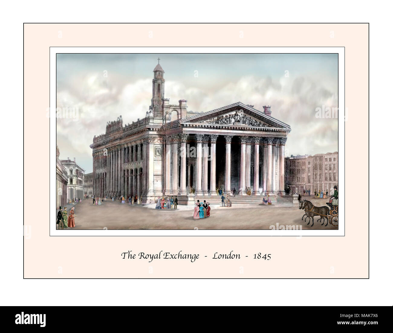 Royal Exchange London Original Design from a 19th century Engraving Stock Photo