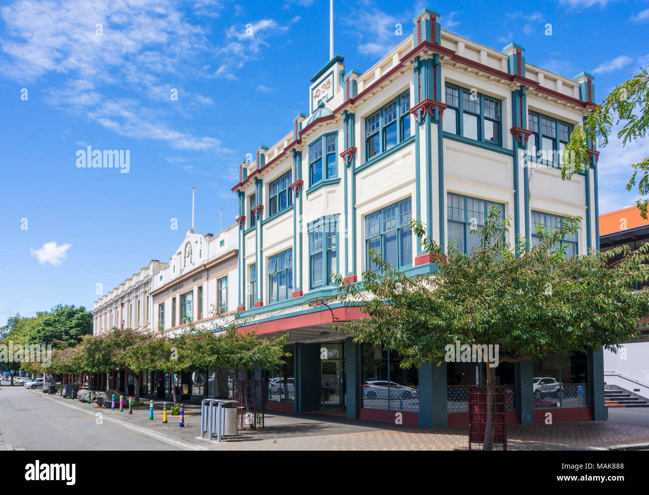 new zealand palmerston north city centre Coleman mall palmerston north city centre art deco style buildings new zealand north island - Stock Image
