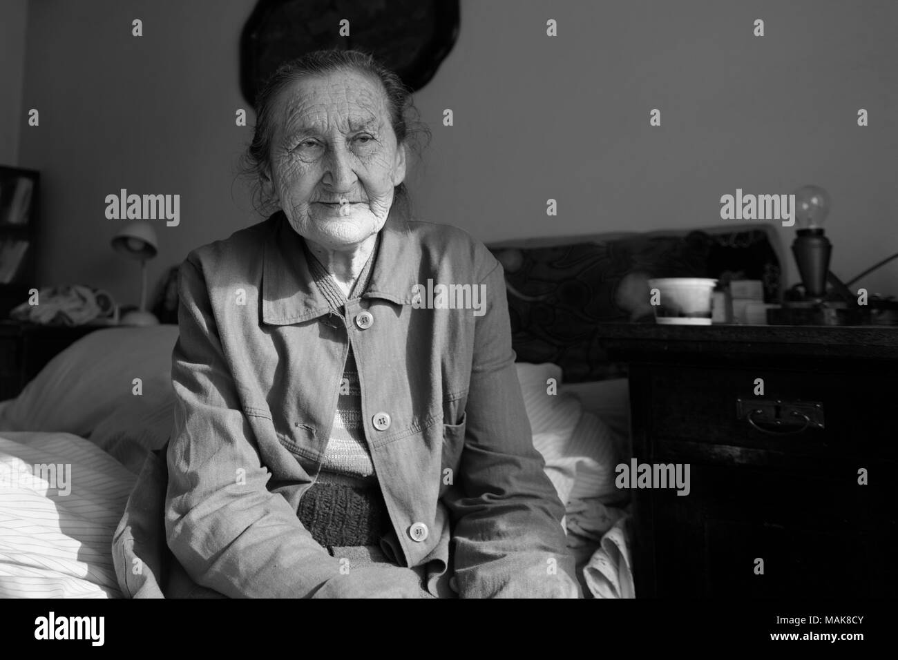 beautiful 80 plus year old senior woman portrait  black