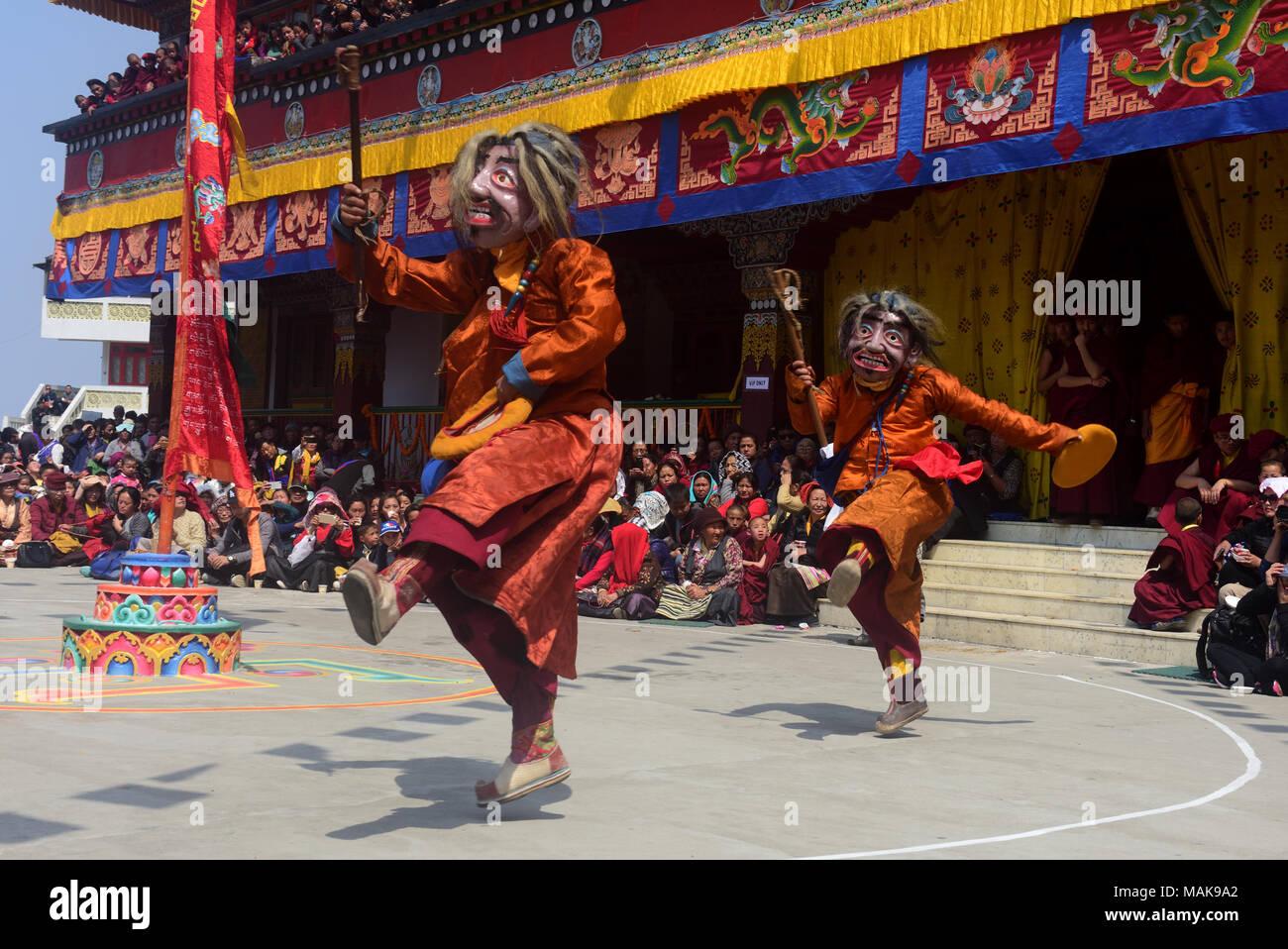 Darjeeling India 26th Mar 2018 Buddhist Monks Performing Chham