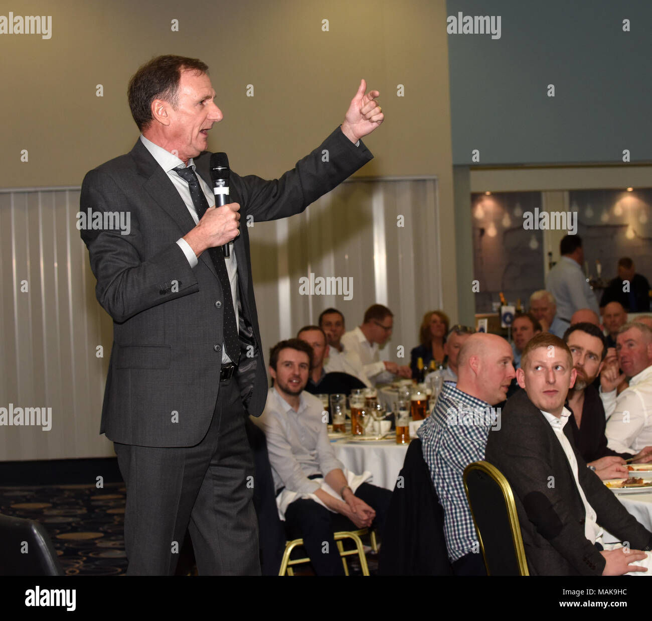 After dinner speaker former Liverpool footballer Phil Thompson - Stock Image