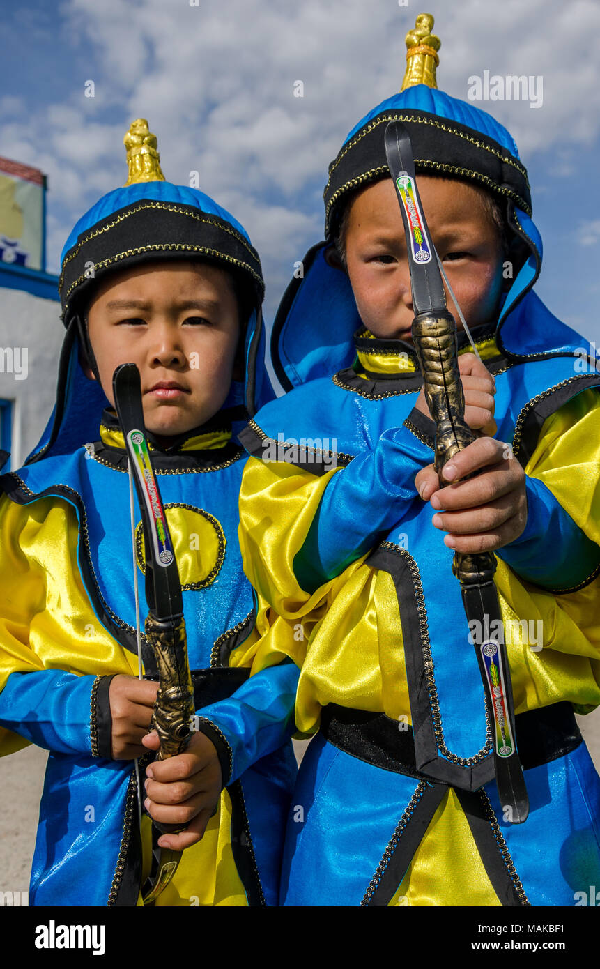 Young Archerer at the Naadam Festival Opening Ceremony, Murun, Mongolia - Stock Image