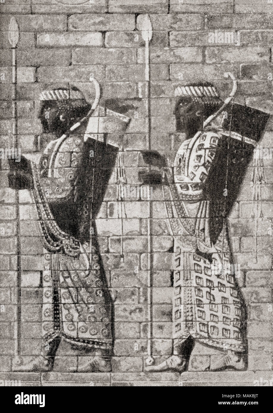 Ancient archers from a frieze at Susa, Persia.  From Hutchinson's History of the Nations, published 1915 - Stock Image