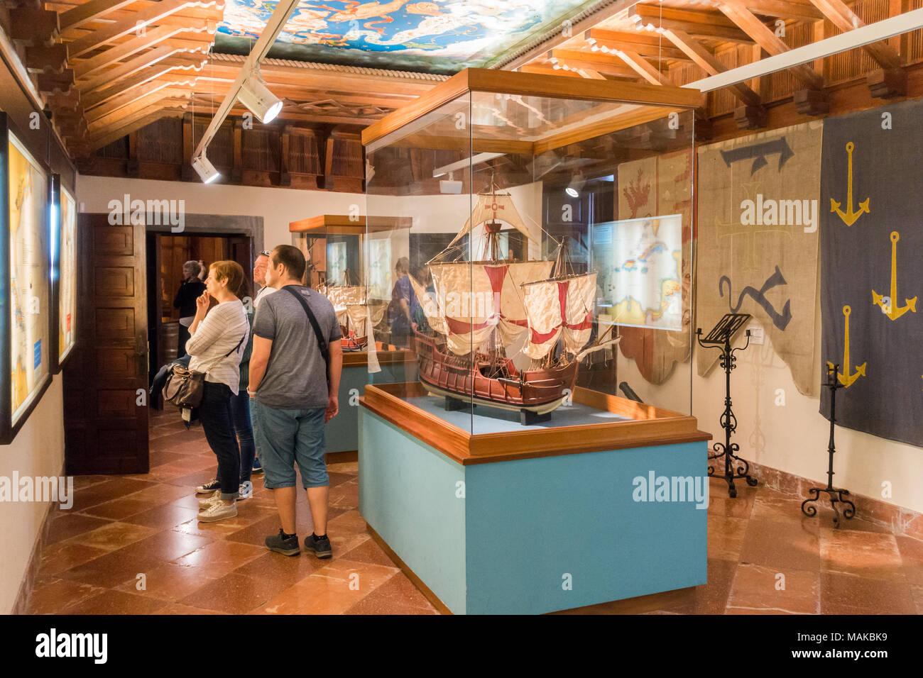 Scale model of Columbus`s Santa Maria caravel ship in Casa de Colón (Columbus` House)  Museum, Las Palmas, in Gran Canaria, Canary Islands, Spain. - Stock Image