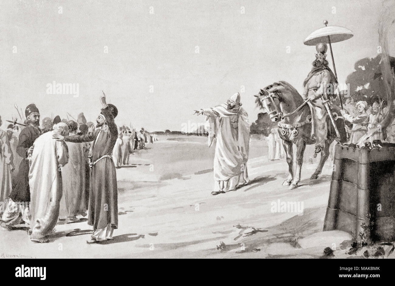 The persecution of Christians during the reign of Shapur II.  Shapur II, aka Shapur II the Great, 309 - 379.  Tenth Shahanshah or Shah of the Sasanian Empire.  After the painting by Margaret Dovaston, (1884-1954).  From Hutchinson's History of the Nations, published 1915 - Stock Image