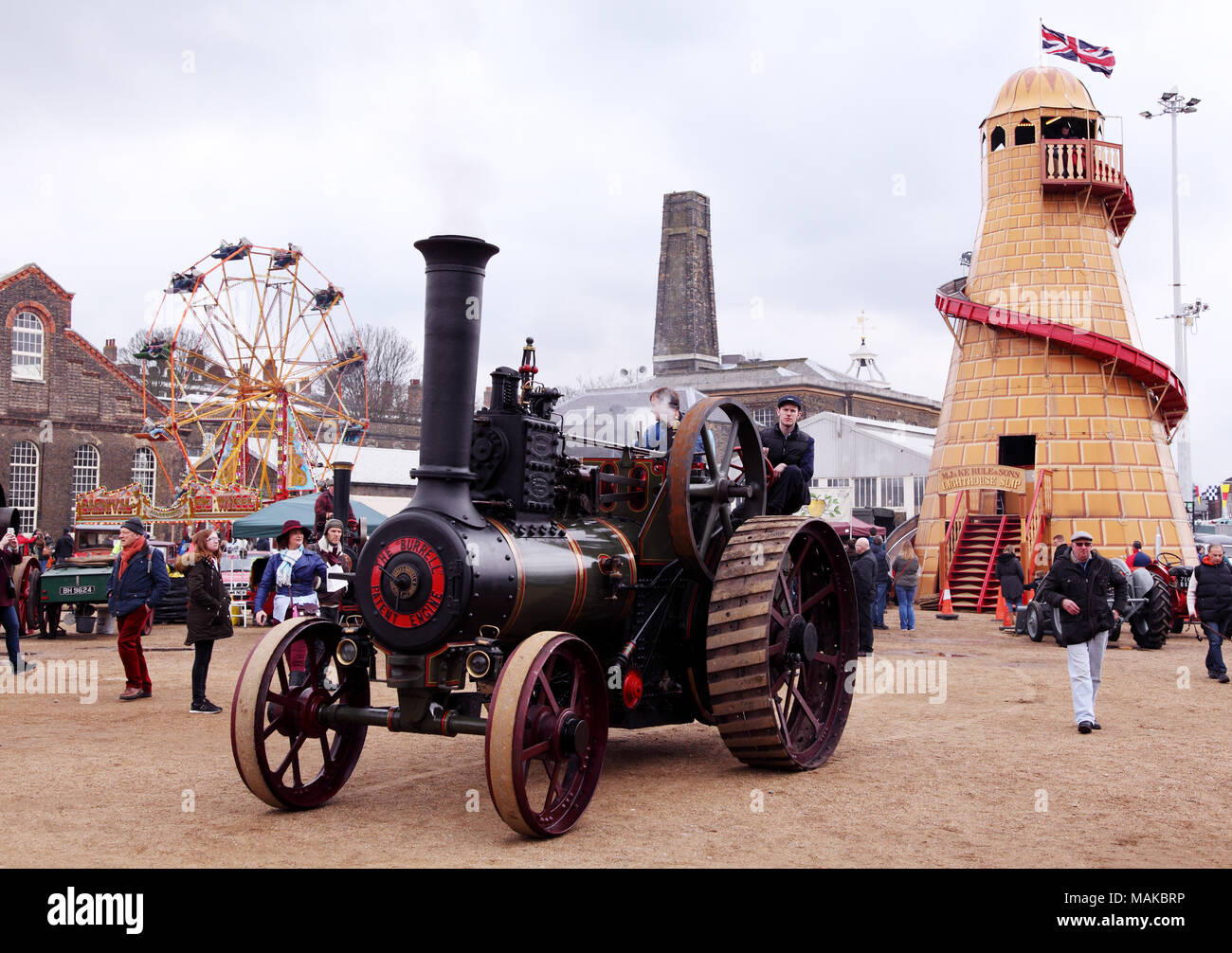 A steam roller at the Festival of Steam and Transport in Chatham Historic Dockyard, Kent, UK. Easter 2018. - Stock Image