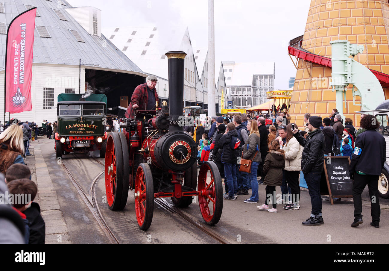 A steam roller at the Festival of Steam and Transport steam fair in Chatham Historic Dockyard, Kent, UK. Easter 2018. - Stock Image