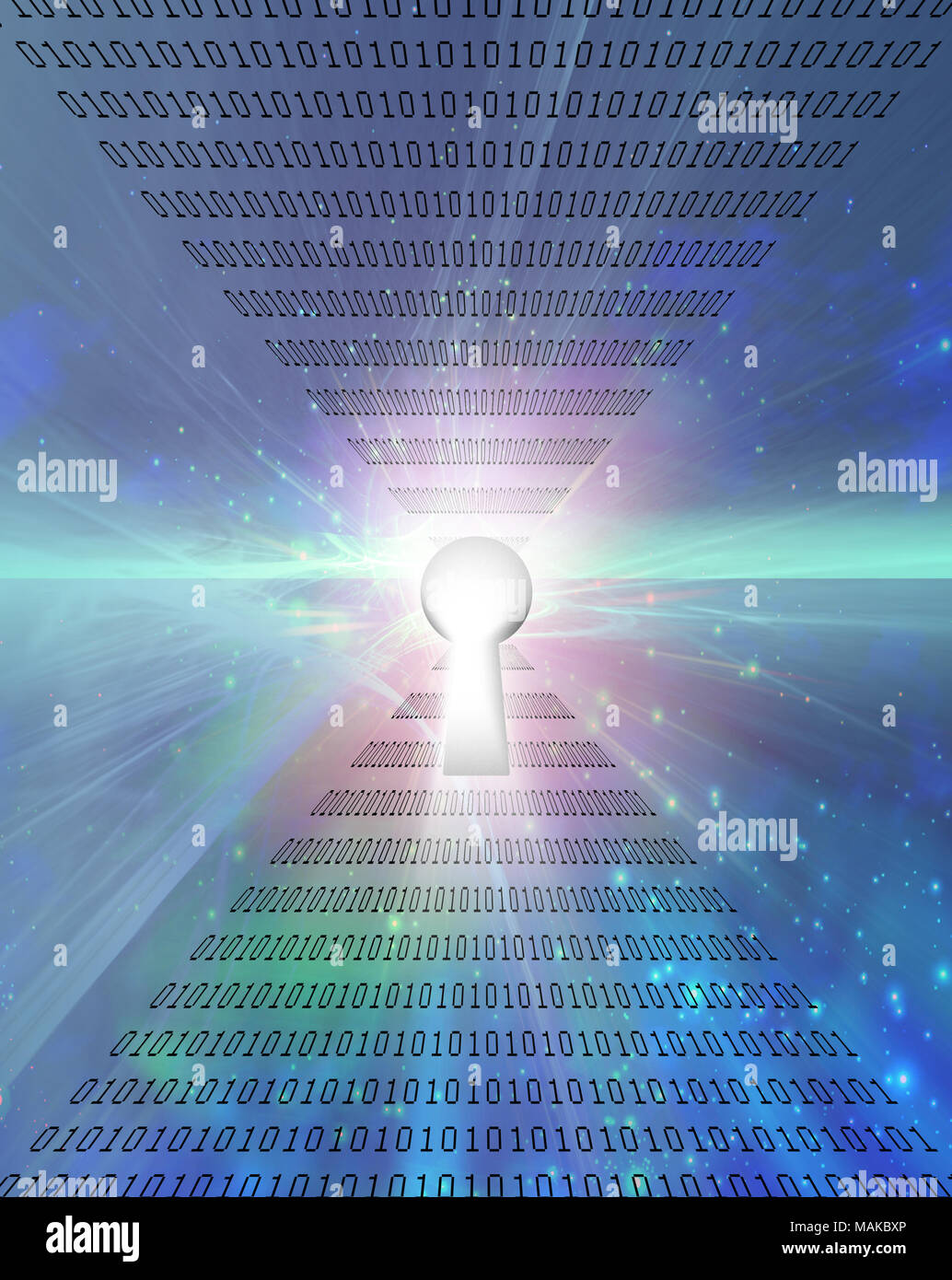 Modern art. Keyhole and binary code on a background. - Stock Image