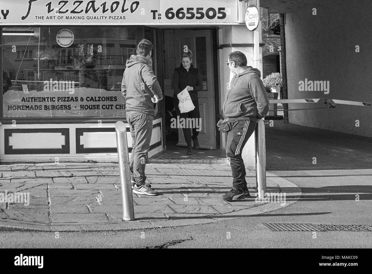Pizzailo takeaway pizza shop on North Quay, Douglas, Isle of Man - Stock Image