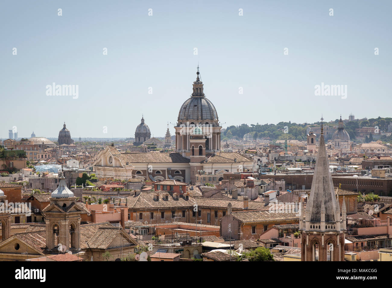 The skyline of Rome from Terrazza del Pincio looking across the city ...