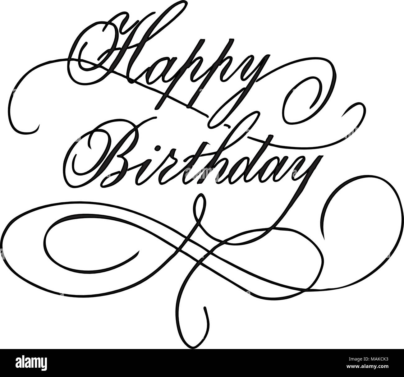 Happy Birthday Vintage Hand Lettering Brush Ink Calligraphy Vector Type Design Isolated On Background