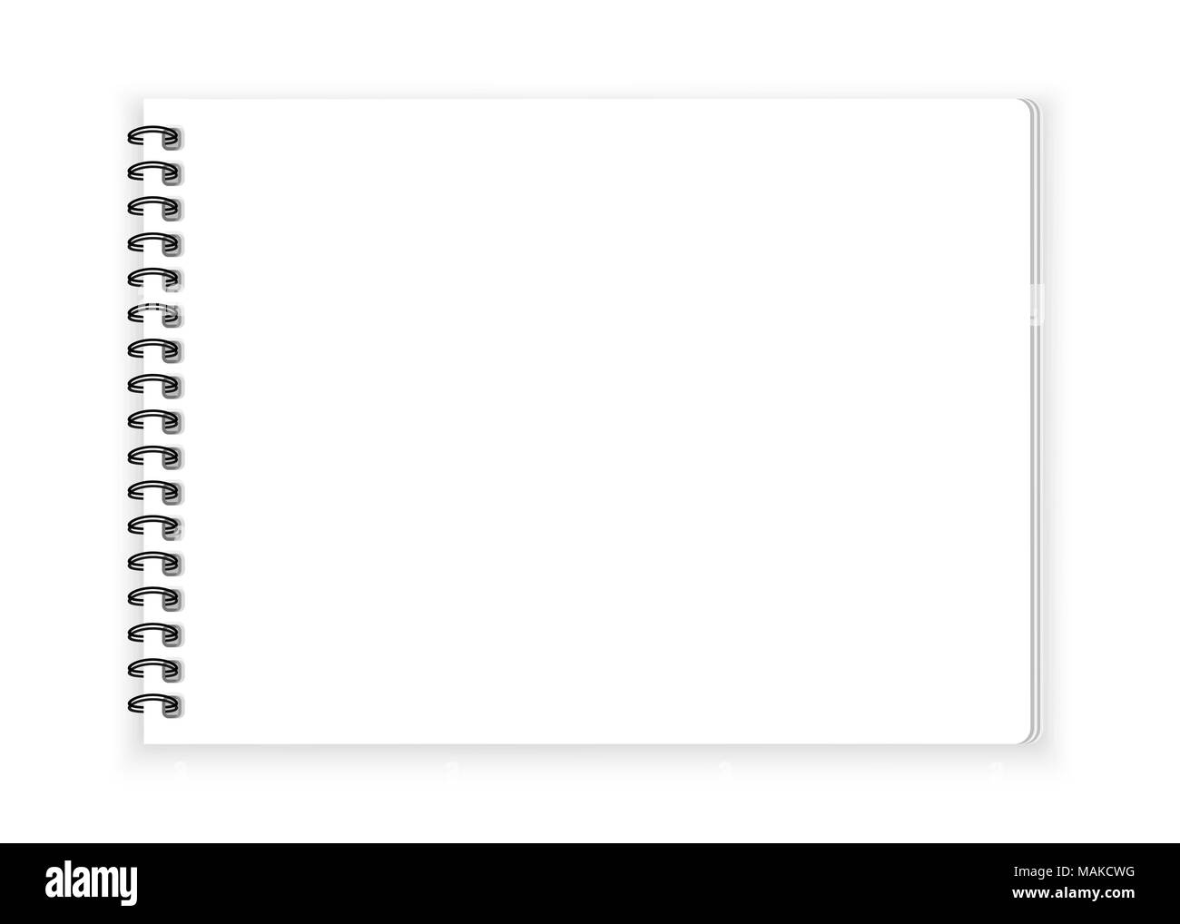 spiral notebook paper on white background vector stock
