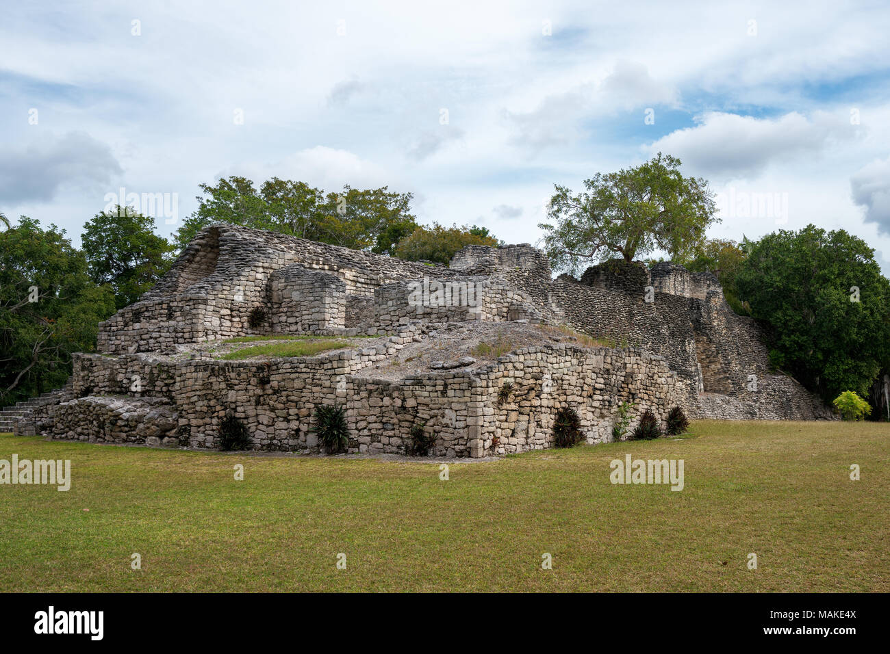 Kohunlich  is a large archaeological site of the pre-Columbian Maya civilization - Stock Image