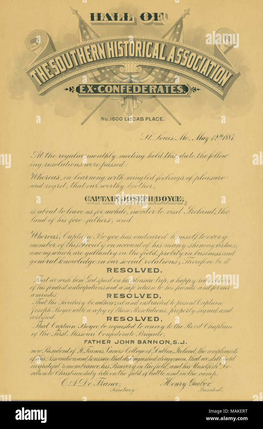 Certificate on board stock presented to Capt. Boyce on May 12, 1887 before his journey to Ireland. Title: 'Hall of the Southern Historical Association Ex-Confederates Certificate for Capt. Joseph Boyce.'  . 1887. - Stock Image