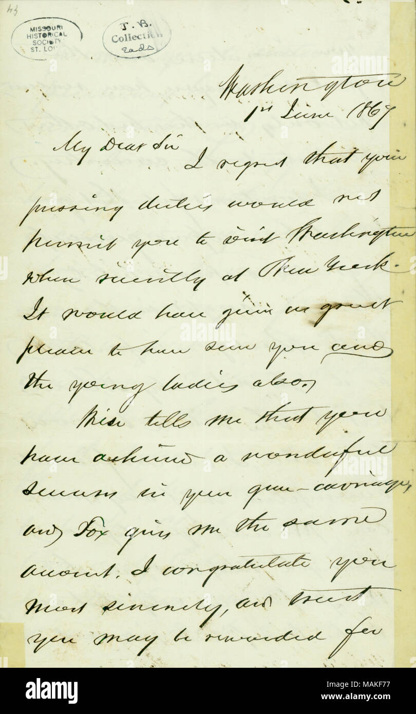Letter from Gideon Welles to James Eads, June 1, 1867 . 1 June 1867. Welles, Gideon, 1802-1878 - Stock Image