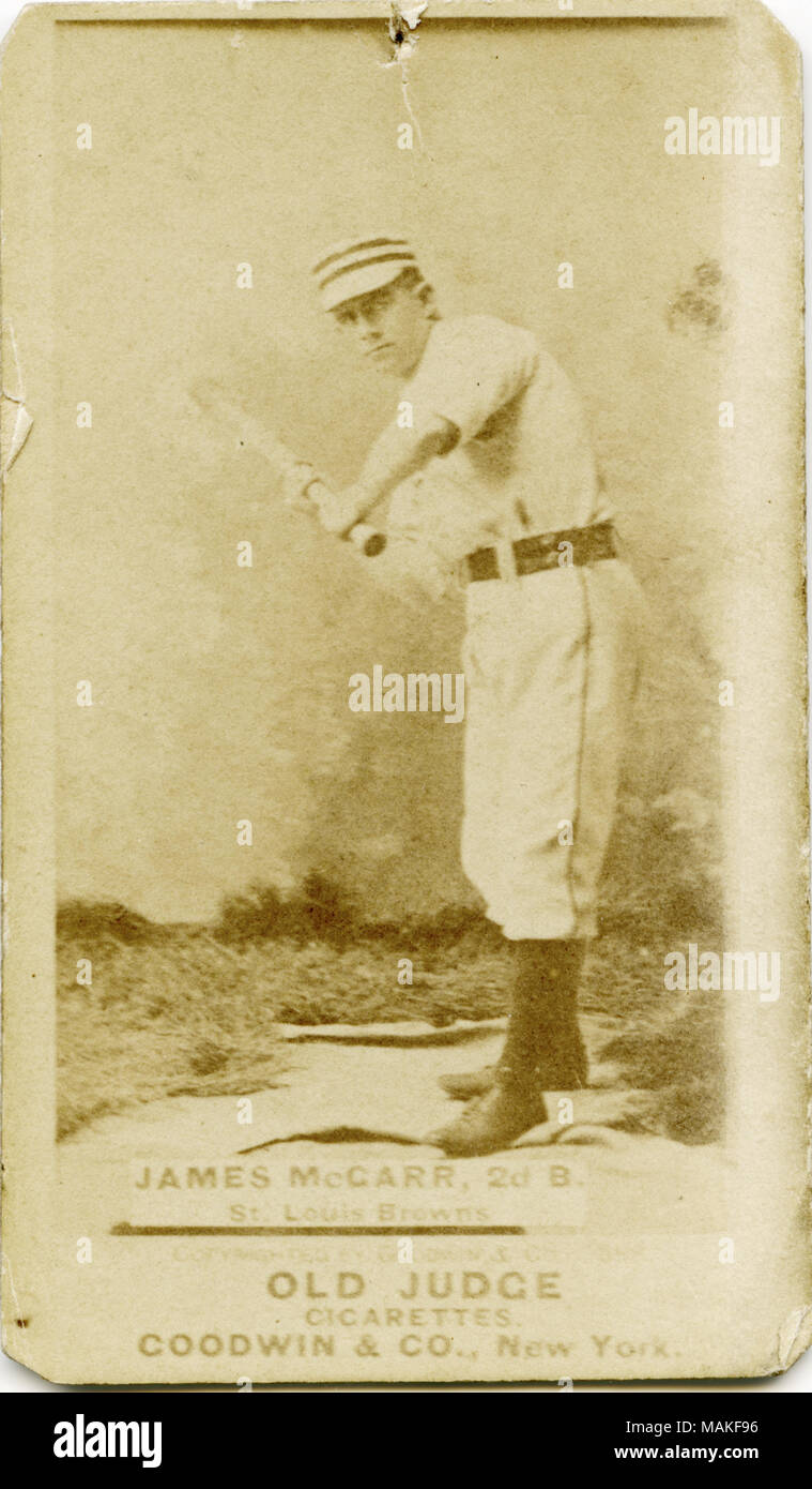 Vertical Sepia Photograph On A Baseball Card Of James Mccarr He Is