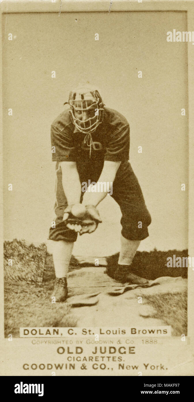 Vertical Sepia Photograph On A Baseball Card Of Tom Dolan He Is